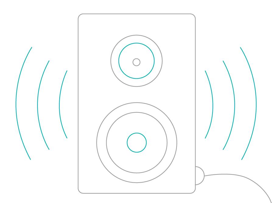 line drawing of speaker